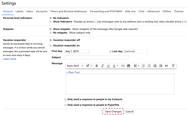 How to add signature in Gmail _ Paperflite _ Save Changes
