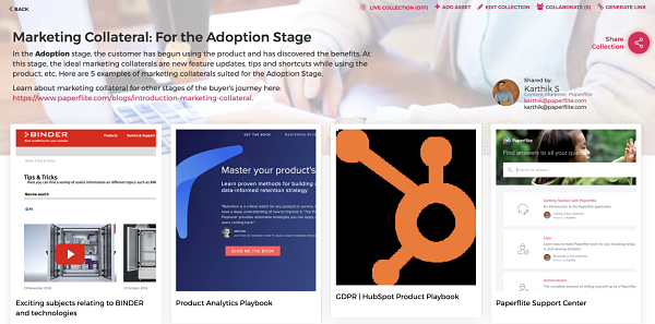 Marketing Collateral | Paperflite | Adoption Stage