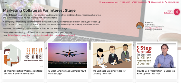Marketing Collateral for Consideration Stage | Paperflite