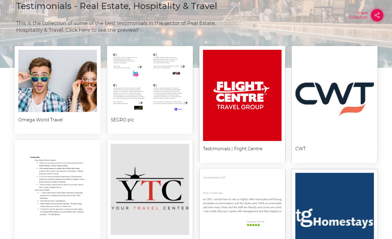 Testimonials-Real Estate, Hospitality & Travel