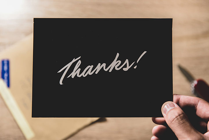 Handwritten note of thanks