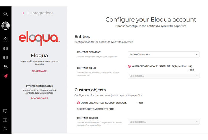 Paperflite's integration with Eloqua lets you create and manage your content, efficiently execute marketing campaigns, score and route leads to sales and measure impact of content on your business — all in a single product suite.